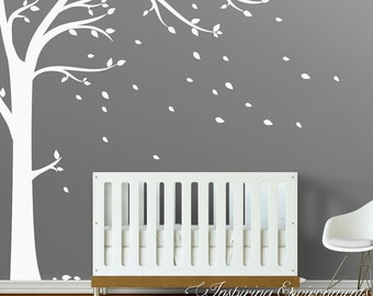 Wall Tree Decal with Leaves - Floor-to-Ceiling Tree Wall Decal for Nursery Wall Decor WAL-2107A