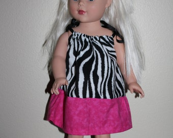 """18"""" Doll Zebra Dress with Matching Hairbow"""