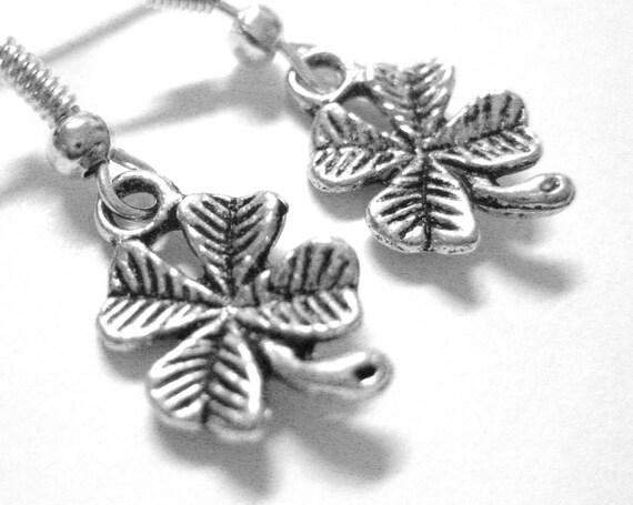 Sterling Silver St Patricks Day Jewelry - Four Leaf Clover Earrings - Shamrock Earrings 037