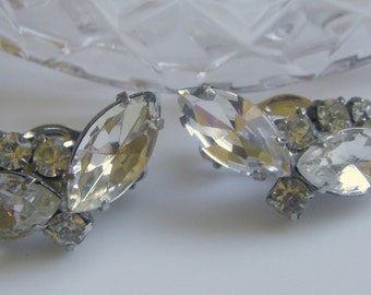 Navette Rhinestone Earrings with Rhodium Finish