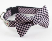 Pink Black Gingham Dog Bow Tie Collar
