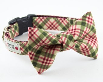Olive Green Burgundy Plaid Dog Bow Tie Collar