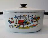 Vintage Mid Century White Turkey Harvest Enamel Porcelain Cookware Pot w/ Lid--FREE SHIPPING