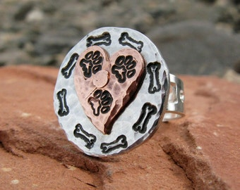 Tripawd Love Adjustable Ring in Copper & Silver Aluminum