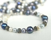 Labradorite Bracelet with Violet, Grey, White & Blue Pearls and Sterling Silver Metals . Natural Bracelet Handmade in Maine Limited Edition