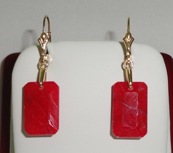 25 cts Natural Earth Mined Emerald cut Red Ruby gemstones, 14kt yellow gold Leverback Pierced Earrings