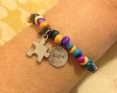 Autism Awareness Puzzle Piece HOPE Charm Bracelet