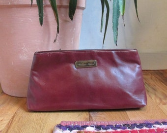 Vintage Burgundy Leather Clutch by Etienne Aiger