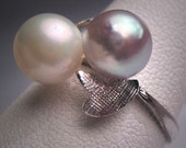 Antique Pearl Ring Vintage Art Deco Silver & White Wedding Japanese Akoya
