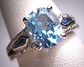 Vintage Blue Topaz Sapphire Diamond Wedding Ring Art Deco