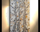ORIGINAL Tree Painting Vertical Hand painted Oil Painting Aspen Birch Art Brown Pewter Gold Silver metallic Artwork Fine art canvas by OTO