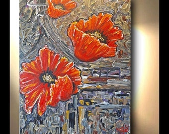 ORIGINAL Poppy Painting Vertical Hand painted Oil Painting Art Artwork Fine art canvas by OTO