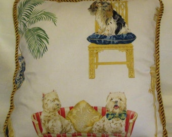 French Country Romantic Cottage Pillow Gold Dog Spaniel Westies Pug Multi colors