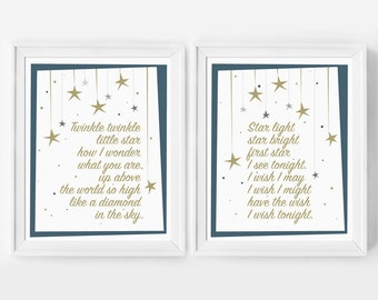 Nursery Decor, Twinkle Twinkle Little Star, Art Print, Wall Art, Star Light Star Bright, Nursery Art, Inspirational Art, Kids Wall Art