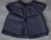 """Small/premie baby girl's hand knitted cardigan/jacket, MADE TO ORDER, in supersoft cotton yarn, blue-violet, chest approx 14"""""""