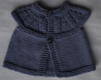 Small/premie baby girl's hand knitted cardigan/jacket, MADE TO ORDER, in supersoft cotton yarn, blue-violet, chest approx 14""