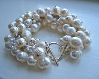 Mallory: Ivory Real Freshwater Pearl and Swarovski Crystals Chunky Bracelet