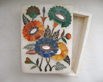 Indian Marble Box With Floral Stone Inlay