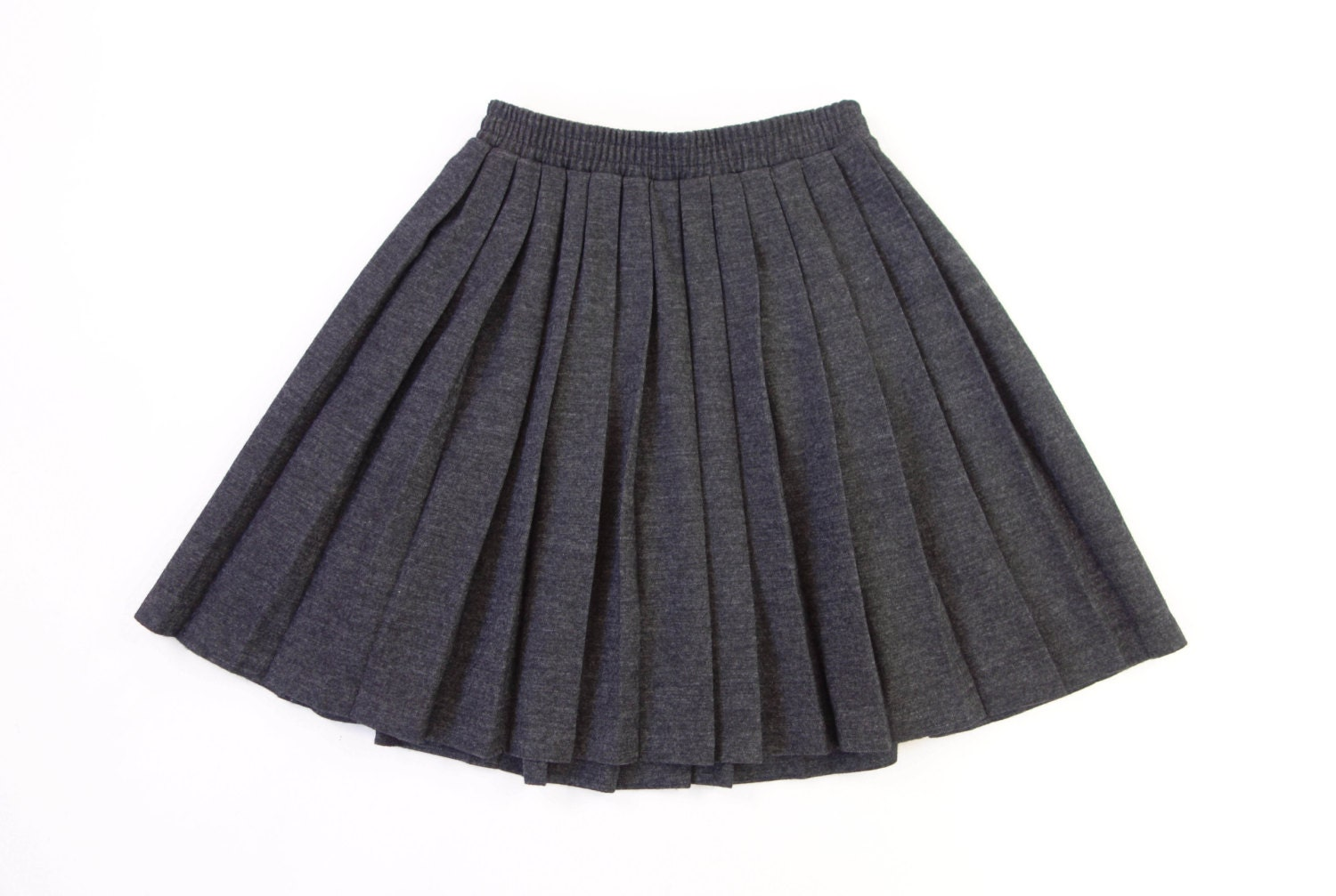 vintage 1990s grey pleated skirt wool knit by