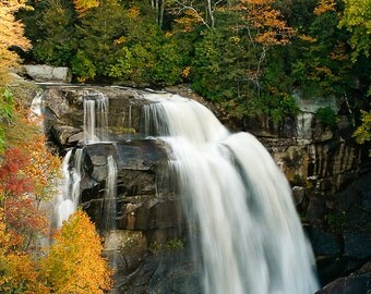North Carolina  White Water Falls in Autumn