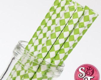 Harlequin Diamond Lime Green  Party Paper Straws - Cake Pop Sticks - Pixie Sticks - Qty 25
