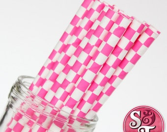 Checkered Pink Party Paper Straws - Cake Pop Sticks - Pixie Sticks - Qty 25