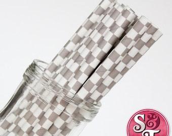 Checkered Gray Party Paper Straws - Cake Pop Sticks - Pixie Sticks - Qty 25