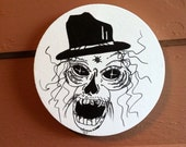 Skulltastic skull drawing on round stretched canvas