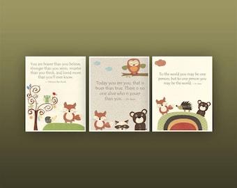 Baby Boy Nursery Art // Boy Nursery Art Decor // Carters Woodland forest animals, Set of 3 Prints // Colors: Brown, green, Orange, dr suess