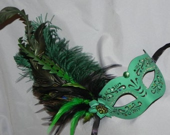 Leather Masquerade Mask in Shades of Green and Silver
