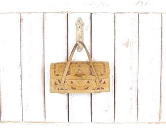 70's vintage tan tooled leather boho purse/Mexican tooled leather handbag/embossed floral leather bag