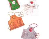 Aprons Sewing Pattern/ Vintage 1990s Simplicity Boys or Girls Summer Collection of Aprons Sewing Pattern 7048