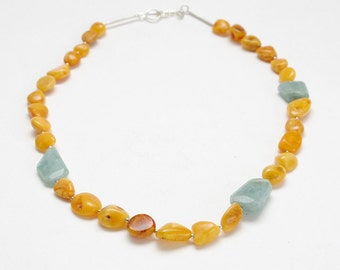 aquamarine, amber and silver necklace
