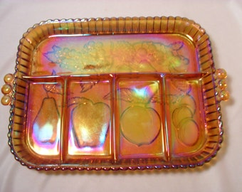 Indiana Marigold Carnival Glass Fruit Pattern Divided Relish Serving Tray