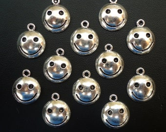 """Silver Smiley Happy Face Charms / Pendants - 1/2"""" Wide"""