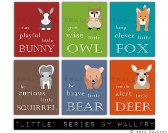 Woodland Nursery decor. Be Brave little bear, grow wise little owl, baby nursery art. SET OF 6 woodland prints by WallFry