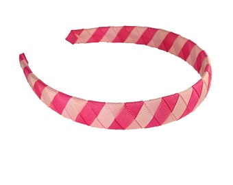 I Love Pinkilicious - Two-toned Pink Woven Headband - Light Pink and Hot Pink Striped Woven Headband