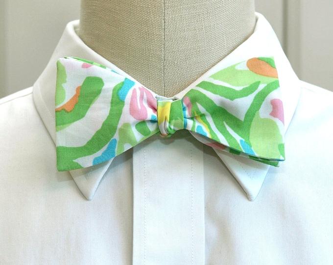 Men's Bow Tie, Elephant Ears green multi Lilly print bow tie, wedding bow tie, groom/groomsmen bow tie, prom bow tie, Kentucky Derby bow tie