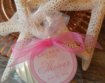 """Baby or Bridal Shower Custom Paper Favor Tags - For Cake Pops - Cookies - Lollipops - Party Favors - (55) 1.5"""" Personalized Printed Tags"""