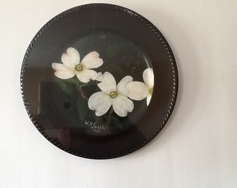 Original Painting On Decorator Plate----Dogwood Blossoms (size 13 dia)....Signed