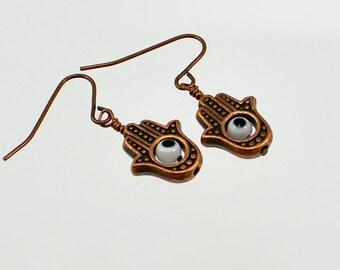 Hamsa Hand - Evil Eye - Copper Charm Earrings.