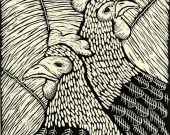 linocut, Pecking Order, printmaking, hens, black and white, monochrome,home interior, country cottage, country style, cottage style, spring