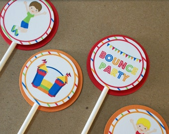 Cupcake Toppers - Boy's Bounce House Birthday Party, Orange and Red