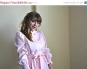CLEARANCE Light Pink 70s Pretty in Pink Dress - Light Pink and White Plaid Dress - Medium Vintage Pink Dress