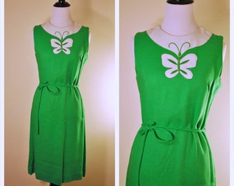 60s St Patrick's Day Green Small Vintage Dress