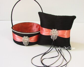 Custom Flower Girl Basket and Wedding Ring Pillow in Black and Coral