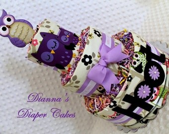 Baby Diaper Cake Purple Owls 2 different OPTIONS Shower Gift or Centerpiece