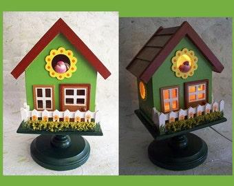 Country Cottage Nightlight Lamp Birdhouse