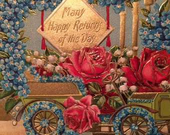 Cheerful Victorian Postcard -  Vintage Car with Forget Me Not Flowers  - Roses - Lily of the Valley