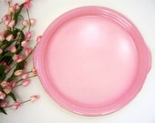 Vintage cake plate ceramic pink gold trim platter serve appetizers meat cheese fruit bread veggies crackers cookies candy, hostess gift idea